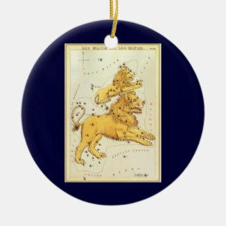 Vintage Zodiac, Astrology Leo Lion Constellation Round Ceramic Decoration