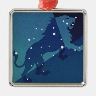 Vintage Zodiac Astrology Leo Lion Constellation Silver-Colored Square Decoration
