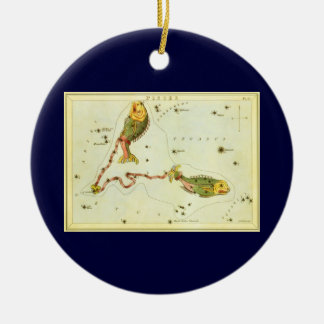 Vintage Zodiac Astrology Pisces Fish Constellation Christmas Tree Ornament