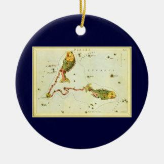 Vintage Zodiac Astrology Pisces Fish Constellation Round Ceramic Decoration