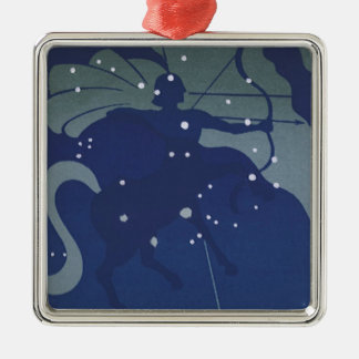 Vintage Zodiac Astrology Sagittarius Constellation Square Metal Christmas Ornament