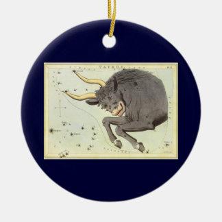Vintage Zodiac Astrology Taurus Bull Constellation Round Ceramic Decoration