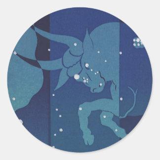 Vintage Zodiac Astrology, Taurus Constellation Classic Round Sticker