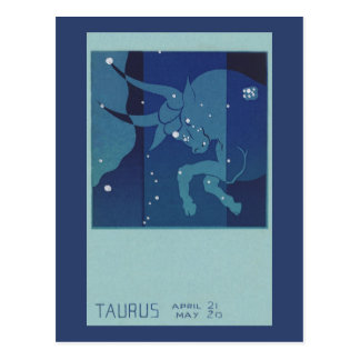 Vintage Zodiac Astrology, Taurus Constellation Postcard