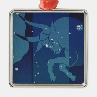 Vintage Zodiac Astrology, Taurus Constellation Silver-Colored Square Decoration
