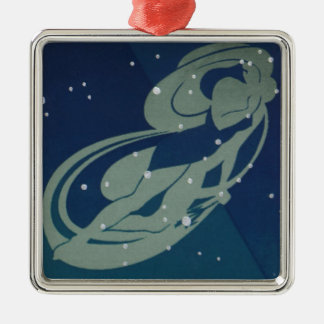 Vintage Zodiac Astrology, Virgo Constellation Silver-Colored Square Decoration