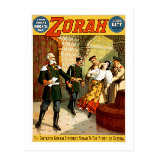 Vintage Zorah Mines of Siberia Broadway Play Postcard