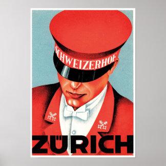 Vintage Zurich Hotel Travel Advertisement Poster