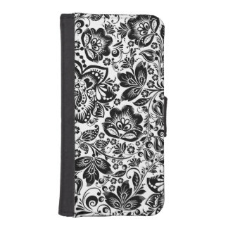 VintageFloral Damasks In Black And White iPhone SE/5/5s Wallet Case