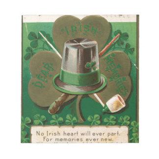 VintageSaint Patrick's day shamrock erin go bragh Notepad