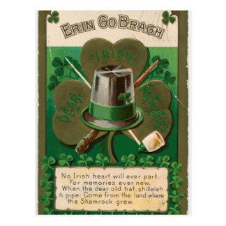 VintageSaint Patrick's day shamrock erin go bragh Postcard