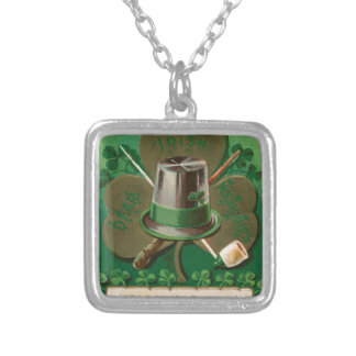VintageSaint Patrick's day shamrock erin go bragh Silver Plated Necklace