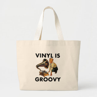 Vinyl Is Groovy Record Collector Humor Funny Pun Large Tote Bag