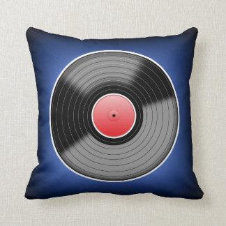 Vinyl Junkie Blue Fade Square Throw Pillow