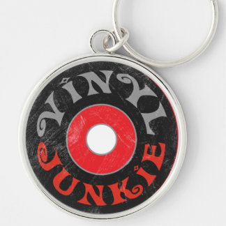Vinyl Junkie Silver-Colored Round Key Ring