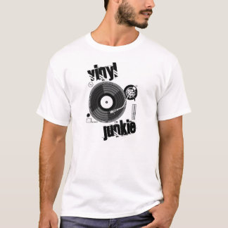 vinyl junkie turntable dj t-shirt on white only