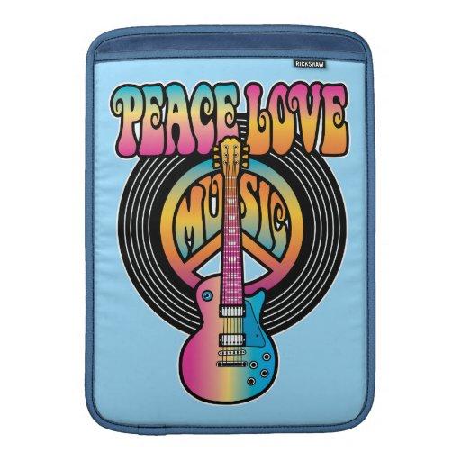 Vinyl Peace Love Music Sleeve For MacBook Air
