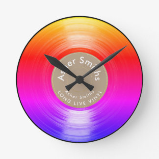 vinyl record, a colorful round clock