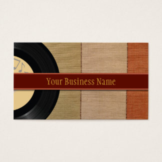 Vinyl Record and nature stripe business card