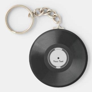 Vinyl.Record Basic Round Button Key Ring