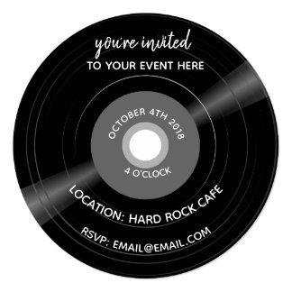 vinyl record music invite birthday wedding invite