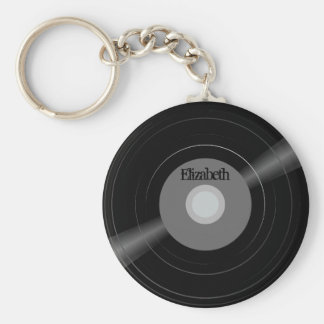Vinyl Record Name Monogram Student Gift Key Ring