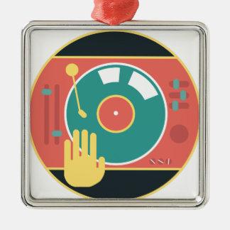 Vinyl-record-player-hand-scratch Metal Ornament