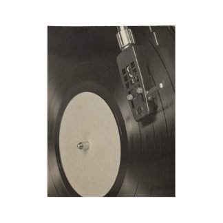 Vinyl Record Playing on a Turntable Wood Poster