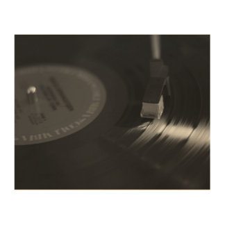 Vinyl Record Sign Wood Print