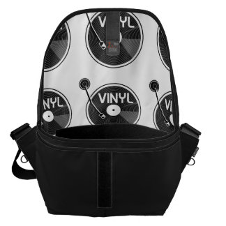 Vinyl Record Turntable Black and White Courier Bag