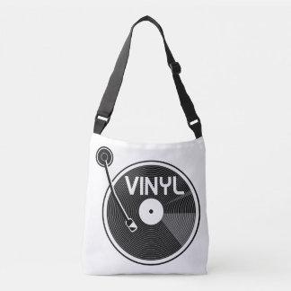 Vinyl Record Turntable Black and White Crossbody Bag
