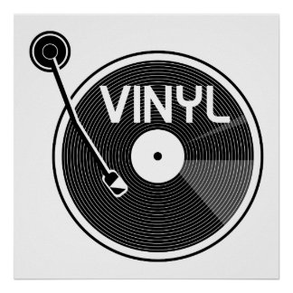 Vinyl Record Turntable Black and White Poster