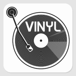 Vinyl Record Turntable Black and White Square Sticker