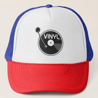 Vinyl Record Turntable Black and White Trucker Hat