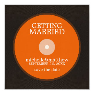Vinyl Record Wedding Save the Date 13 Cm X 13 Cm Square Invitation Card