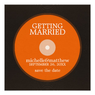 Vinyl Record Wedding Save the Date Invites
