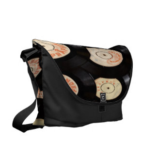 Vinyl Records Background Commuter Bags