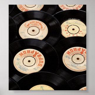 Vinyl Records Background Poster