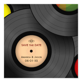 Vinyl Records Retro Save the Date invitation