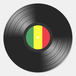 Vinyl reggae classic round sticker