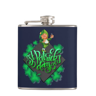 Vinyl Wrapped Flask with St, Patrick days motive