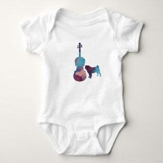 Viola pug art baby bodysuit