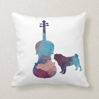 Viola pug art cushion