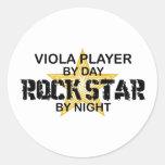 Viola Rock Star by Night Round Sticker