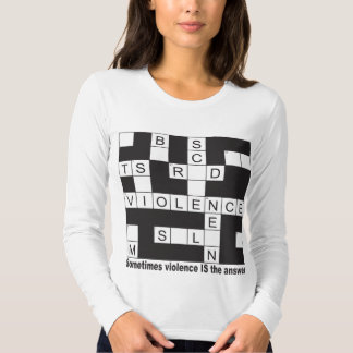 Violence Crossword Ladie's Fitted Long Sleeve T-shirts