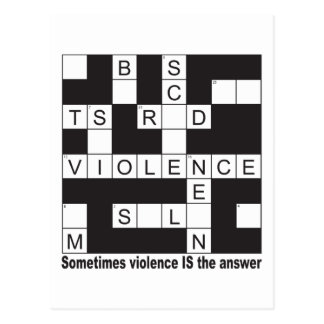 Violence Crossword Postcards