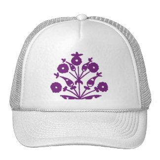 Violet Abstract Floral Hats