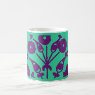 Violet Abstract Floral Coffee Mugs