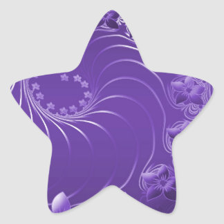 Violet Abstract Flowers Star Stickers