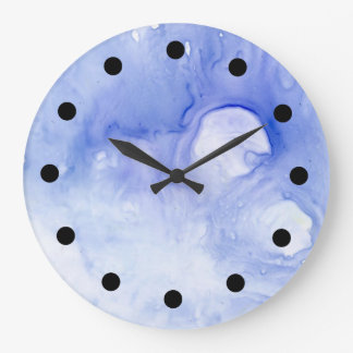 violet abstract watercolor clock